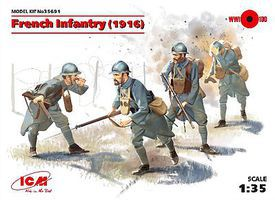 ICM WWI French Infantry 1916 (4) (New Tool) Plastic Model Military Figure Kit 1/35 Scale #35691