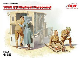 ICM WWI US Medical Personnel (4) (New Tool) Plastic Model Military Figure Kit 1/35 Scale #35694