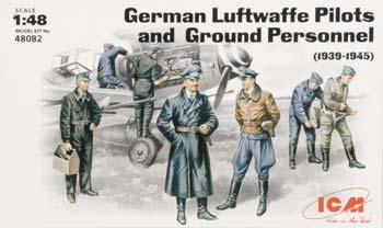 ICM Models Luftwaffe Pilots & Ground Personnel 1939-45 (7) -- Plastic Model Military Figure -- 1/48 -- #48082