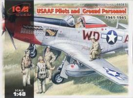 ICM USAAF Pilots and Ground Personel Plastic Model Military Figure 1/48 Scale #48083