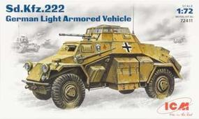 ICM WWII SdKfz 222 Light Armored Vehicle Plastic Model Armored Car Kit 1/72 Scale #72411