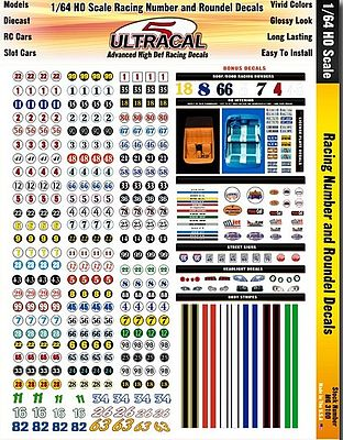 Innovative Hobby Supply UltraCal Hi-Def Decals- Racing Numbers & Roundels -- Slot Car Decal -- 1/64 Scale -- #3100