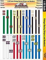 Innovative 1/32 UltraCal Hi-Def Decals- Vintage Racing Stripes & Numbers Slot Car Decal #3321