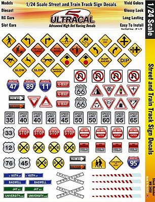 Innovative Hobby Supply 1/24 UltraCal Hi-Def Decals- Street & Train Track Signs -- Slot Car Decal -- #3450