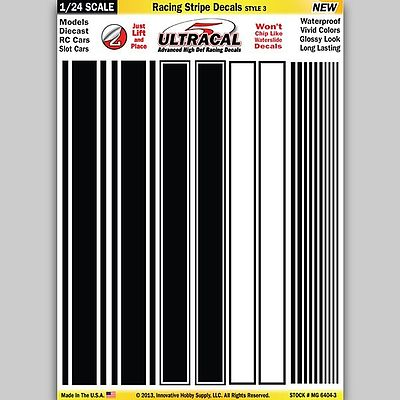 Innovative Hobby Supply 1/24 Peel & Stick Decals- Racing Stripe Black/White Style 3 -- Slot Car Decal -- #64043