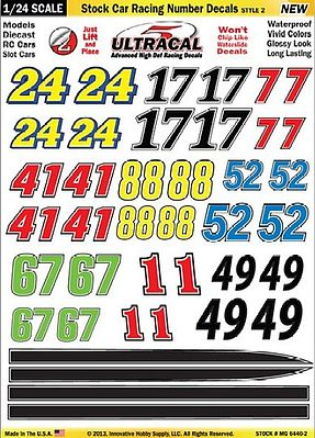 Innovative Hobby Supply 1/24 Peel & Stick Decals- Stock Car Racing Number Yellow/Black/Red/Green -- Slot Car Decal -- #64402