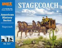 Imex Model Co Stagecoach with Horses and Figures Set -- Western Plastic Model Kit -- 1/72 Scale -- #517