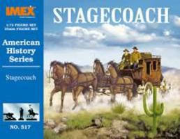 Imex Stagecoach with Horses and Figures Set Western Plastic Model Kit 1/72 Scale #517