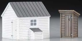 Imex Outhouse & Garage Assembled Perma-Scene HO Scale Model Railroad Building #6138