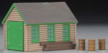 Imex Model Co Maintenance Handcar Shed Assembled Perma-Scene -- HO Scale Model Railroad Building -- #6139
