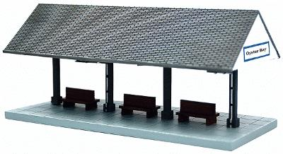 Imex Model Co Oyster Bay Station Platform Assembled Perma-Scene -- N Scale Model Railroad Accessory -- #6329