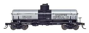 Intermountain ACF Type 27 Riveted 8000-Gallon Tank Car - Ready to Run Stauffer Chemical Co. (silver, black markings) - N-Scale