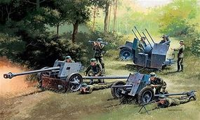 Italeri German Gun Set Pak 37, Pak 40, Flak 38 Plastic Model Military Vehicle Kit 1/72 Scale #07026