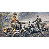 Italeri US Motorcycles WWII Normandy Plastic Model Motorcycle Kit 1/35 Scale #550322