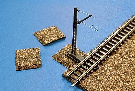 Itty Bitty Lines Cork Catenary Mast Pads (10) -- Z Scale Model Train Track Roadbed -- #1010