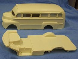 JimmyFlintstone 1950 Ford School Bus Body & Interior Tub Resin Model Vehicle Accessory 1/25 Scale #nb276