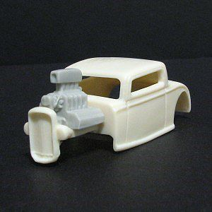 Jimmy Flintstone HO 1932 Ford 3-Window Body, Engine & Window Insert for Tomy Mega G 1.7 Chassis