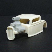 JimmyFlintstone HO 1932 Ford 3-Window Body, Engine & Window Insert for Tomy Mega G 1.7 Chassis