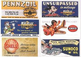 JL Vintage Gas Station/Oil Signs (6) 1940s Model Railroad Billboards HO Scale #164