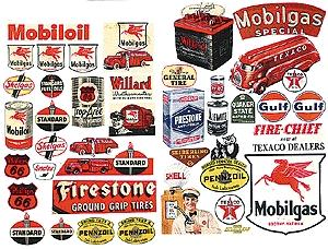 JL Innovative Design Gas Station & Oil Posters 1940's and 1950's -- Model Railroad Billboards -- HO Scale -- #184