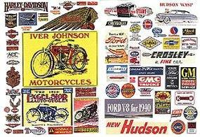 JL Motorcycle and Auto Signs 1900s to 1960s Model Railroad Billboards HO Scale #204