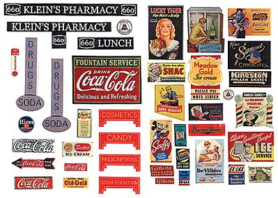 JL Innovative Design Vintage Drugstore & Pharmacy Signs 1930's to 1950's -- Model Railroad Billboard -- HO Scale -- #242