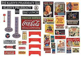 JL Vintage Drugstore & Pharmacy Signs 1930s to 1950s Model Railroad Billboard HO Scale #242