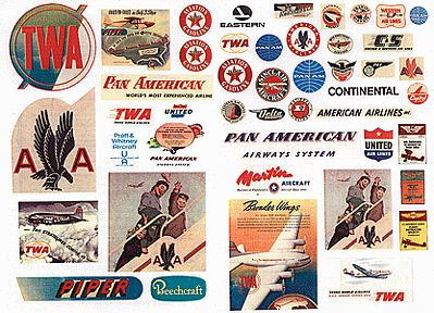 JL Innovative Design Vintage Aviation & Airline Signs 1940's to 1950's -- Model Railroad Billboard -- HO Scale -- #244