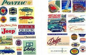 JL Vintage Auto Posters/Signs 1940s to 1950s Model Railroad Billboard HO Scale #247