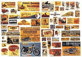 JL Vintage Motorcycle Signs 1920s - 1950s Model Railroad Billboard HO Scale #304