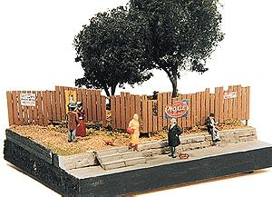 JL Innovative Design Custom Fencing w/Aging Signs -- Model Railroad Building Accessory -- HO Scale -- #305