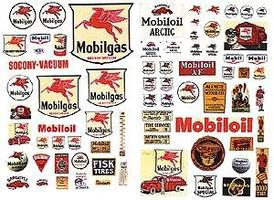 JL Vintage Mobil Gas Station Posters/Signs Model Railroad Billboard HO Scale #485