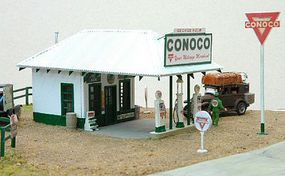 JL HO George Helm Conoco Gas Station Wooden Kit