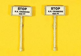 JL Custom Stop R.R. Crossing 400Ft. Signs (2) Model Railroad Trackside Accessory HO Scale #839