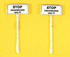 JL Custom Stop Drawbridge 400Ft. Signs (2) Model Railroad Trackside Accessory HO Scale #847