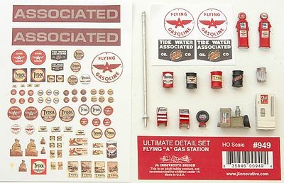JL Innovative Design Ultimate Flying A Gas Station Detail Set -- HO Scale Model Railroad Accessory -- #949