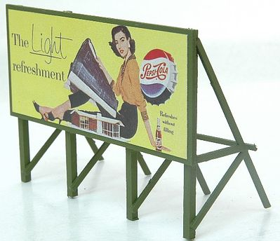 JL Innovative Design Custom Billboard 1950s Pepsi -- Model Railroad Sign -- HO Scale -- #975