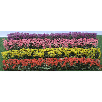 JTT Miniature Tree Flower Hedges Red, Pink, Yellow, Purple -- HO Scale Model Railroad Scenery -- #95510