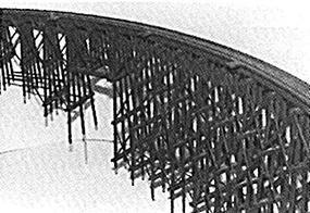 JV Curved Wood Trestle Kit N Scale Model Railroad Bridge #1016