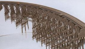 JV Curved Wood Trestle Wood Kit O Scale Model Railroad Bridge #4016