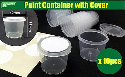 Js Work Models 40mm x 33mm Empty Plastic Paint Container w/Cover (10)