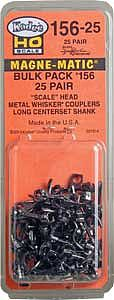 Kadee Quality Products Whisker Scale Long (25/64) Centerset Shank 25 pair -- HO Scale Model Train Coupler -- #156-25