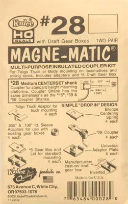 Kadee Quality Products 20 Series Magne-Matic Med Centerset Shank 9/32 -- HO Scale Model Train Coupler -- #28