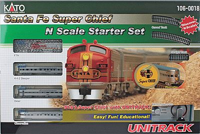 Kato USA Inc Santa Fe Super Chief Starter Set (silver) -- N Scale Model Train Set -- #1060018