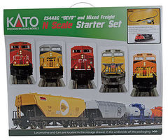 Kato GE ES44AC GEVO and Mixed Freight Starter Set N Scale Model Train Set #1060020