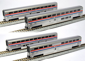 Kato Amtrak Superliner 4-Car Set A - Ready to Run Coach #34037, Coach-Baggage #31024, Diner #33022, Sleeper #32022 (Phase III) - N-Scale