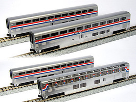 Kato Amtrak Superliner 4-Car Set B - Ready to Run Coach #34051, Coach #34085, Lounge #33008, Sleeper #32044 (Phase III) - N-Scale