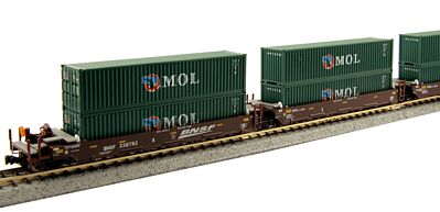 Kato USA Inc Gunderson Maxi-I 5-Unit Double-Stack Well Car BNSF -- N Scale Model Train Freight Car -- #1066153