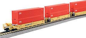 Kato MAXI-I Set with Container TTX (5) N Scale Model Train Freight Car Set #1066193