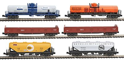 Kato USA Inc Mixed Freight 6-Car Set - Ready to Run -- N Scale Model Train Freight Car Set -- #1066275